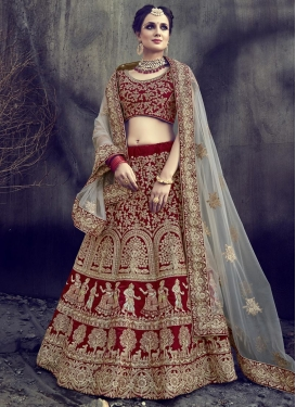 Embroidered Work Net A - Line Lehenga