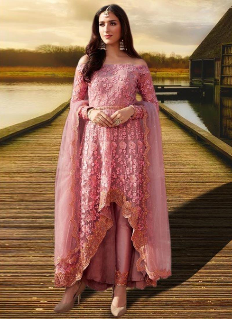 Embroidered Work Net Asymmetrical Designer Salwar Suit
