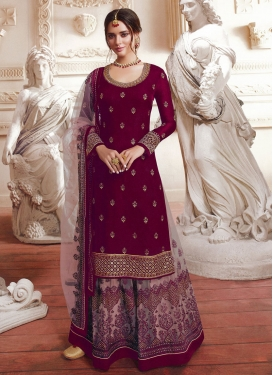 Embroidered Work Net Beige and Maroon Palazzo Straight Salwar Kameez