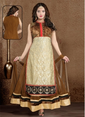 Embroidered Work Net Brown and Cream Readymade Classic Gown