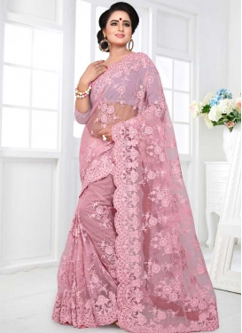 Embroidered Work Net Designer Contemporary Saree