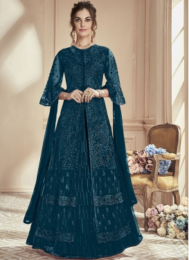 Embroidered Work Net Designer Kameez Style Lehenga