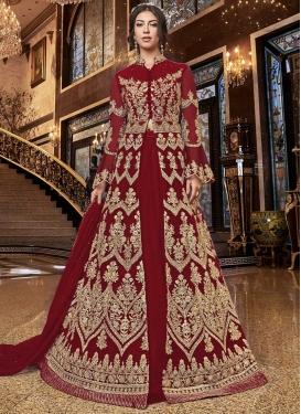 Embroidered Work Net Designer Kameez Style Lehenga