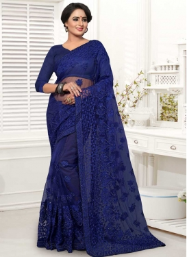 Embroidered Work Net Designer Traditional Saree