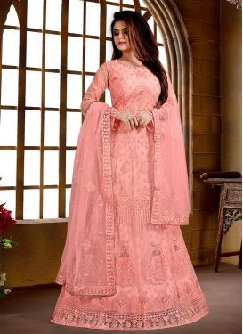 Embroidered Work Net Floor Length Anarkali Suit