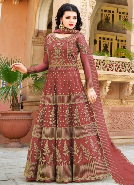 Embroidered Work Net Floor Length Designer Salwar Suit