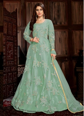 Embroidered Work Net Floor Length Trendy Salwar Suit