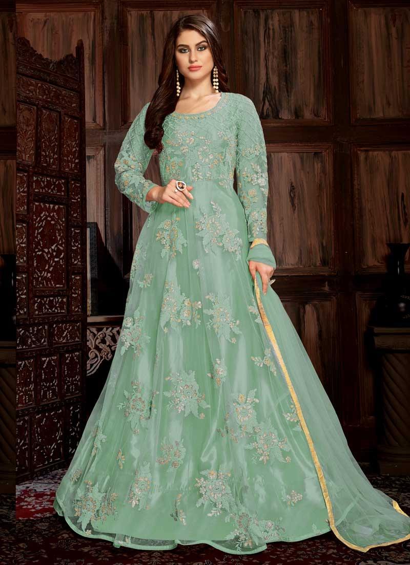Embroidered Work Net Floor Length Trendy Salwar Suit