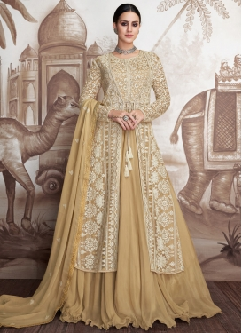 Embroidered Work Net Jacket Style Floor Length Suit