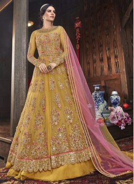 Embroidered Work Net Kameez Style Lehenga