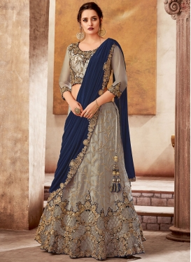 Embroidered Work Net Lehenga Style Saree