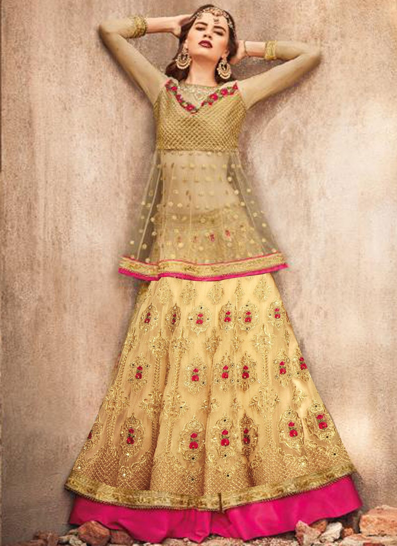 Embroidered Work Net Long Choli Lehenga