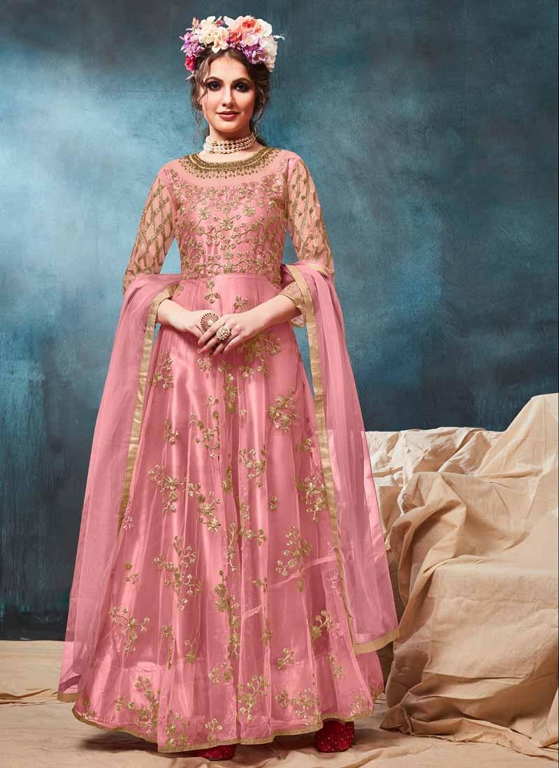 Embroidered Work Net Long Length Anarkali Salwar Suit