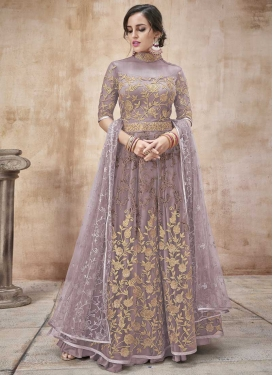 Embroidered Work Net Long Length Anarkali Suit