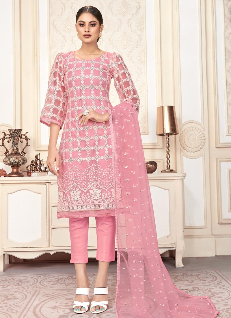 Embroidered Work Net Pant Style Designer Salwar Suit