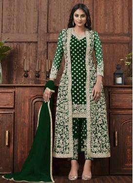 Embroidered Work Net Pant Style Pakistani Salwar Kameez