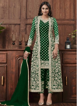 Embroidered Work Net Pant Style Pakistani Salwar Suit
