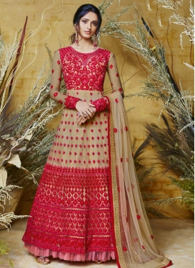 Embroidered Work Net Readymade Anarkali Salwar Suit