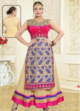 Embroidered Work Net Readymade Floor Length Gown