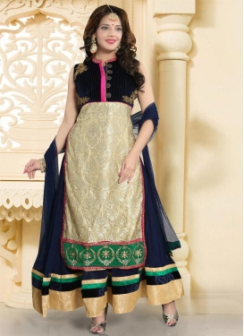 Embroidered Work Net Readymade Long Length Gown