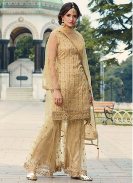 Embroidered Work Net Sharara Salwar Suit