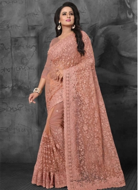Embroidered Work Net Traditional Designer Saree