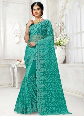 Embroidered Work Net Traditional Designer Saree For Party