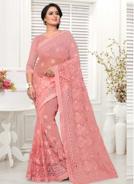 Embroidered Work Net Trendy Saree