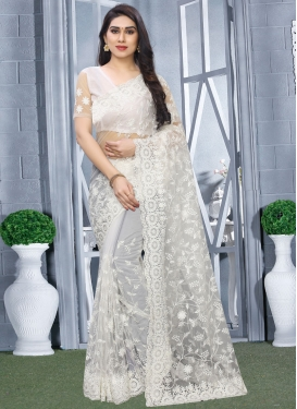Embroidered Work Net Trendy Saree For Festival