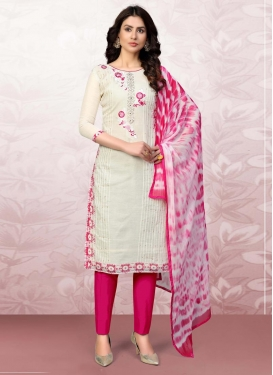Embroidered Work Off White and Rose Pink Pant Style Classic Suit