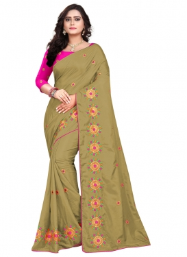 Embroidered Work Olive and Rose Pink Designer Contemporary Saree