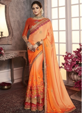 Embroidered Work Orange and Peach Trendy Classic Saree