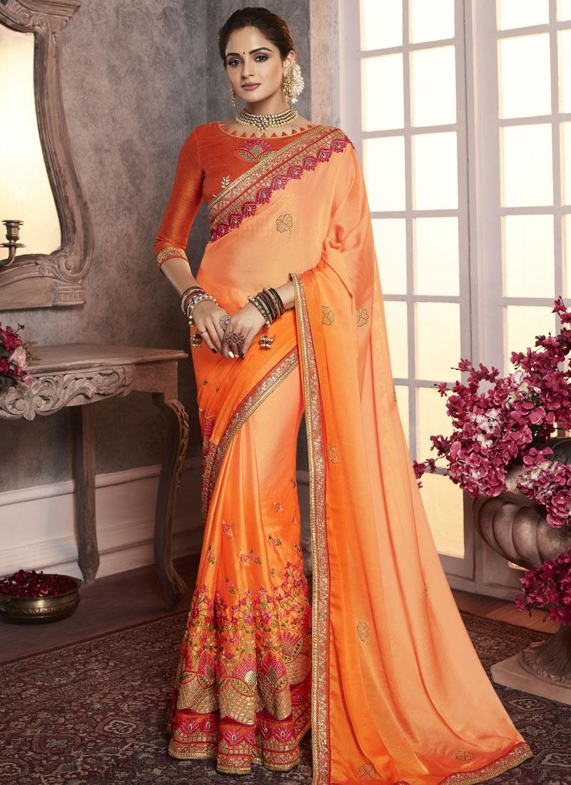 Embroidered Work Orange and Peach Trendy Classic Saree