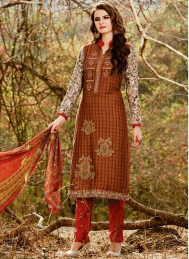Embroidered Work Orange and Red Cotton Satin Pant Style Salwar Kameez