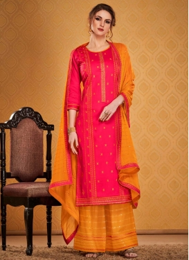 Embroidered Work Orange and Rose Pink Palazzo Style Pakistani Salwar Kameez