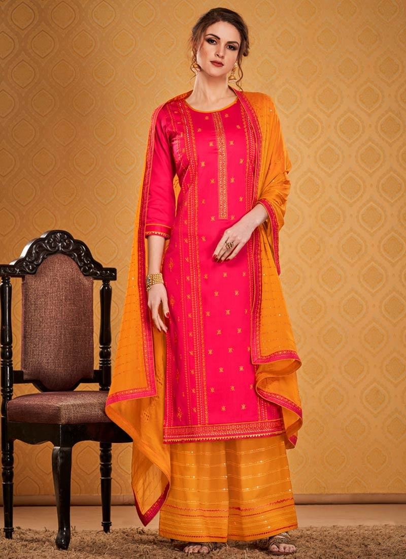 Embroidered Work Orange and Rose Pink Palazzo Style Pakistani Salwar Kameez
