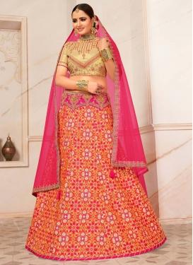Embroidered Work Orange and Rose Pink Trendy Lehenga Choli