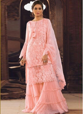 Embroidered Work Organza Sharara Salwar Kameez
