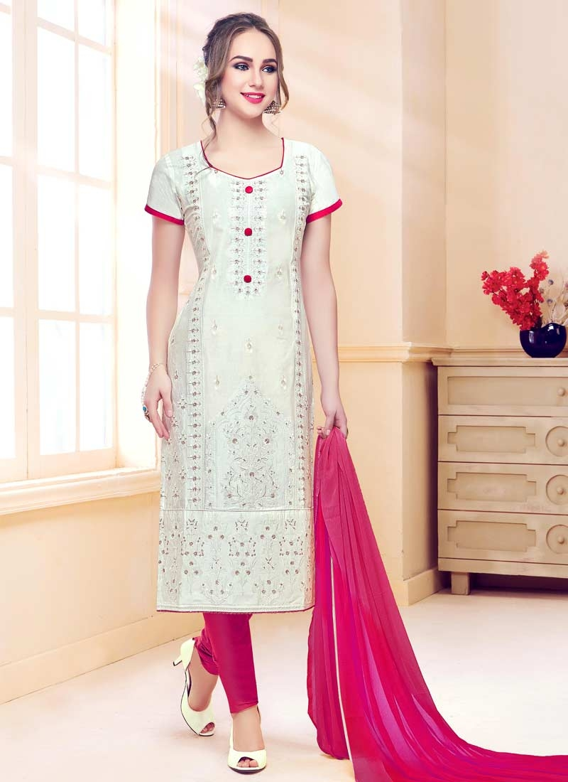 Embroidered Work Pakistani Straight Salwar Kameez