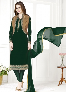 Embroidered Work Pakistani Straight Suit