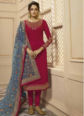Embroidered Work Pakistani Straight Suit For Ceremonial