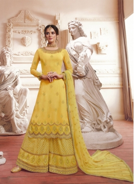 Embroidered Work Palazzo Straight Salwar Kameez