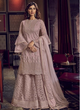 Embroidered Work Palazzo Straight Salwar Kameez For Party