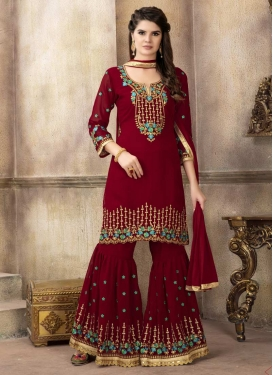 Embroidered Work Palazzo Straight Salwar Suit