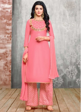 Embroidered Work Palazzo Straight Suit