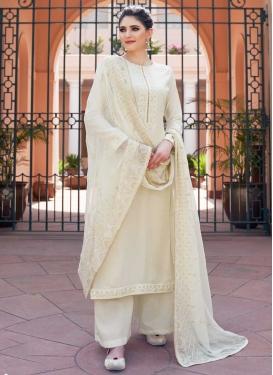 Embroidered Work Palazzo Style Pakistani Salwar Kameez