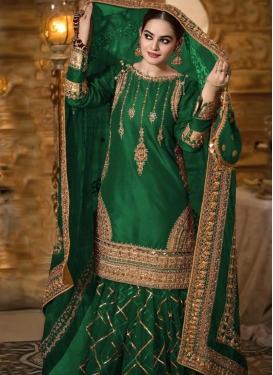 Embroidered Work Palazzo Style Pakistani Salwar Kameez For Ceremonial