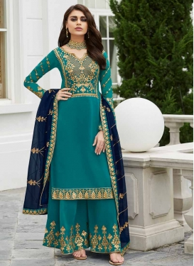 Embroidered Work Palazzo Style Pakistani Salwar Suit