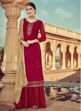 Embroidered Work Palazzo Style Pakistani Salwar Suit