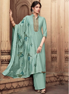 Embroidered Work Palazzo Style Pakistani Salwar Suit For Ceremonial